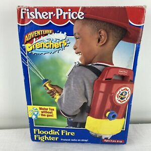 Fisher Price Floodin' Fire Fighter Backpack Water Toy with hose Vintage 1999