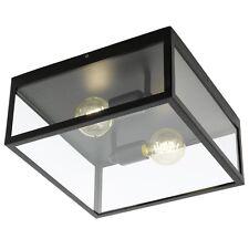 Plafoniera vintage nera con vetro trasparente a 2 luci GLO 49392 Charterhouse