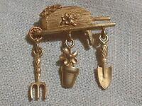 Brooch VTG Estate Garden Tools Flower Pot Cart Gold Tone Pin