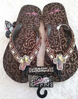 4e61df3d2ea6b7 NWT Blazin Roxx BROWN Embellished Rhinestone Cross LEANNE Flip Flops Womens  7