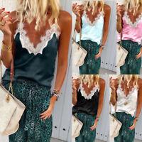 Women Summer Tank Tops Cami Lace Casual Plain Sleeveless Camisole Vest TShirt UK