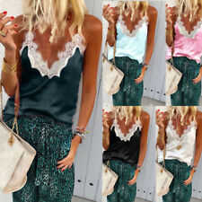 Womens Summer Tank Tops Cami Lace Comely Plain Sleeveless Camisole Vest T-Shirts