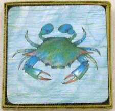 Rock Flower Paper Blue CRAB Tropical Ocean Sea Life Coasters Set of 4 NIB NEW