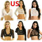 US_Women Lace Floral Mesh Sheer See Through Crop Top Sexy Short T-Shirt Blouse