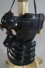 Japan Antique Menpo Samurai Iron Face Mask Armor Yoroi Edo, Iron, Black lacquer