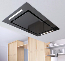 100cm Remote Control LED Ceiling Cooker Hood - Airforce F171 Flat - Black Glass