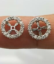 White SI1 G Real  Diamond Halo Solitaire Stud Bridal Earrings Jackets 14KW Gold