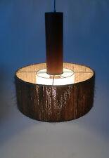 50s Temde Sisal + Teak Pendel Leuchte Lampe modernist lamp annees 50