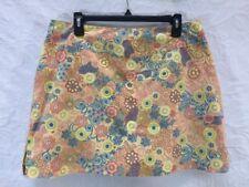 Sahalie Women's Skirt Skort Built in Shorts Floral Rear Zipper Pocket Cotton 14