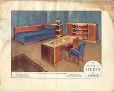 Stampa antica MOBILI Studio Scrivania Georges Arou 1933 Antique Print FURNITURE
