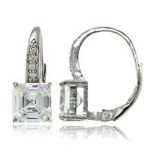 Sterling Silver Cubic Zirconia Asscher Cut Leverback Earrings