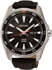 SEIKO SNE393P2 Solar Gents Sports Black Dial Day Date WR 100M 2Yr Guar RRP £189