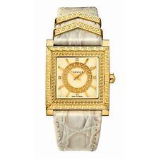 Versace Women's VQF030015 DV-25 DIAMOND Swiss Quartz Beige Leather Watch