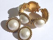 SET Edouard Rambaud Paris Bracelet Clip On Gold Tone Swirl Faux Pearl Earrings