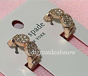 NWT Kate Spade Gatsby Dot Huggies Hoops Earrings Rose Gold Tone O0RU2182