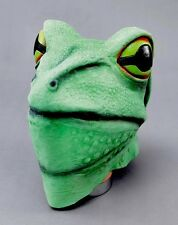 FROG MASK GREEN REPTILE ADULT LATEX RUBBER OVERHEAD STAG ANIMAL COSTUME