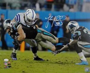 Luke Kuechly Autographed Panthers 16x20 Fumble Recovery PF Photo- JSA W Auth