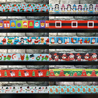 "Christmas Cartoon Grosgrain Ribbon 22mm (7/8"") Santa Snowmen Snowflakes Tree"