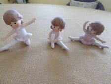 Collectible Vintage Enesco Ballerina Figurines,1983, Bisque, 3 poses