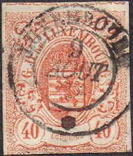 Luxemburg 1859 40c Orange Arms William III sg 15 Handstamped
