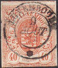 Luxemburgo 1859 40c Naranja armas William Iii Sg 15 handstamped
