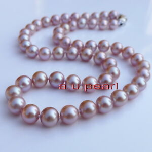 """AAAAA 22""""11-12mm REAL NATURAL south sea PINK purples lavender pearl necklace 14K"""