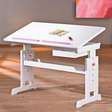 Bureau enfant modulable orientable rectangulaire ergonomique reglable ROSE BLANC