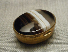 Elegant Antique Edwardian European Polished Banded Agate & Brass Oval Pill Box