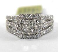 Natural Princess Diamond Cluster Square Bridge Lady's Ring 14k White Gold 1.90Ct
