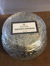 Voluspa Yashioka Gardenia Large Embossed Glass Jar Candle, 14 Ounces