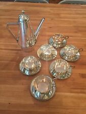 Argentor Silver Plate Art Nouveau Deco Tea Coffee Pot cups saucers Set Lot