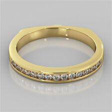 0.15 Ct Round Diamond Wedding Eternity Band 14K Solid Yellow Gold Ring Size 5 7