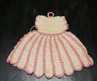 VINTAGE  HAND CROCHETED pink & cream dress potholder
