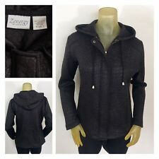 CHICO'S ZENERGY Black Metallic Stretchy Fitted Jacket w/ Hood Women's Sz 1 M 8