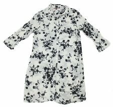 Velvet Womens Petite Black White Flower Pattern Sheer Button Up Tunic Shirt