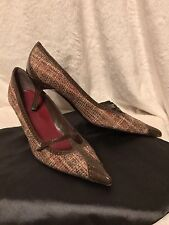 ISABELLA FIORE Brown Patent Leather Tweed Pumps Shoes, Kitten Heel, 8M, 8.5