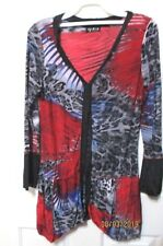 Ladies long top long sleeved multi coloured size 8