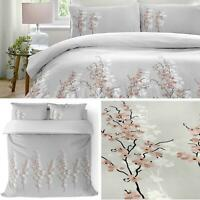 Grey Duvet Covers Floral Blossom Reversible Pink Quilt Cover Bedding Sets