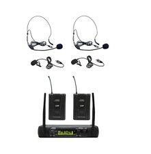 Audio2000'S AWM6074UMH UHF, DUAL WIRELESS LAVALIERE/HEADSET MICROPHONE SYSTEM-MR