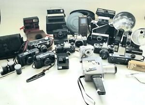 Photography Lot of 16 Vintage Cameras/Video Recorders & Accessories Movie Props