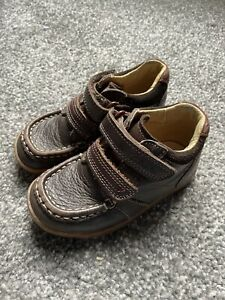 Infant Boys CLARKS Brown Leather Winter Boots Size Uk 6.5F