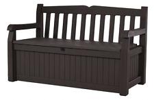 Keter Eden 70 Gallon All Weather Outdoor Patio Storage Garden Bench Deck Box, Br