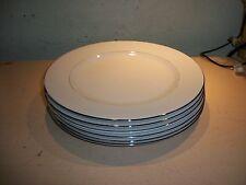 "6 YorkTown Syracuse China Dinner Plates 10-3/4"" Platinum Trim Dish Made in USA"