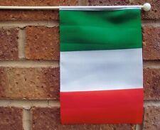 "ITALY HAND WAVING FLAG medium 9"" X 6"" wooden pole flags ITALIAN ROMA MILAN"