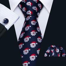 2019 Christmas Santa Claus TIE Set Silk Blue Red Handkerchief Cufflinks USA