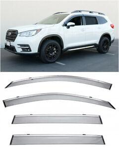 For 19-UP Subaru Ascent | WellVisors CHROME TRIM Side Window Visors Deflectors