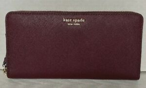 New Kate Spade Cameron Large Continental wallet Leather Cherrywood