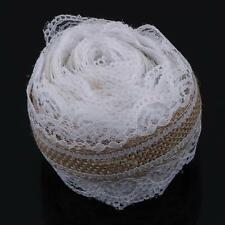 5M Natural Jute Burlap Hessian White Lace Ribbon Roll Wedding Vintage Decoration