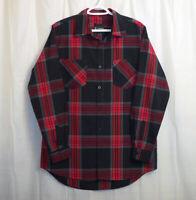 Akademiks Button Front Shirt Men's Large L Red Black Gray Plaid Long Sleeve
