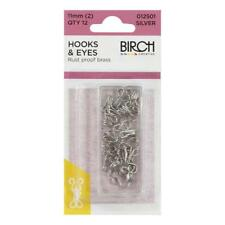 BIRCH - HOOKS & EYES - RUST PROOF - QTY 12PK - BLACK OR SILVER - 7,9 OR 11MM